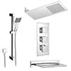 Milan Modern Shower Package (Fixed Head, Riser Rail Kit + Bath Spout) profile small image view 1
