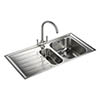 Rangemaster Manhattan 1.5 Bowl Stainless Steel Kitchen Sink profile small image view 1