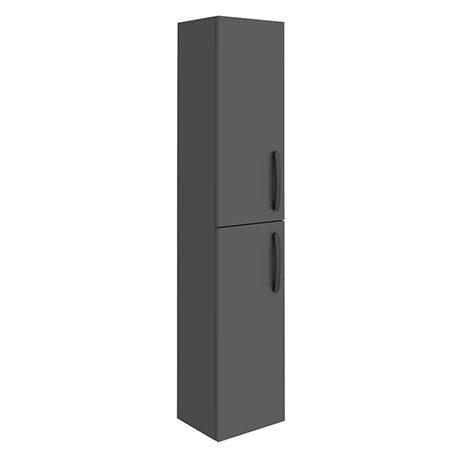 Brooklyn Gloss Grey Wall Hung Tall Storage Cabinet with Matt Black Handles