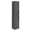 Brooklyn Gloss Grey Wall Hung Tall Storage Cabinet with Matt Black Handles profile small image view 1