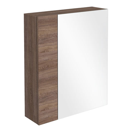 Brooklyn 600mm Mid Oak Bathroom Mirror & Fascia Cabinet