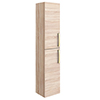 Brooklyn Natural Oak Wall Hung Tall Storage Cabinet with Brushed Brass Handles profile small image view 1