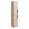Brooklyn Natural Oak Wall Hung Tall Storage Cabinet with Matt Black Handles profile small image view 1