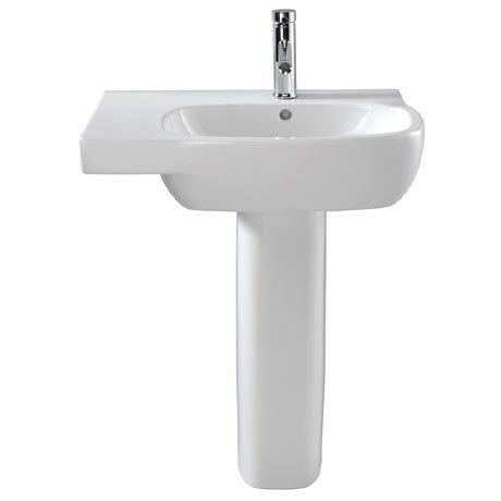 Twyford Moda Offset 650mm 1TH Washbasin & Pedestal (Left Hand Shelf)
