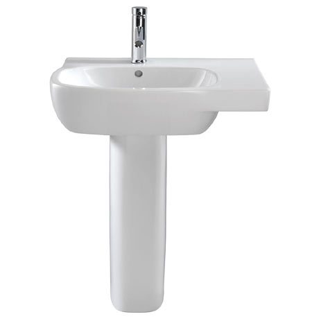 Twyford Moda Offset 650mm 1TH Washbasin & Pedestal (Right Hand Shelf)