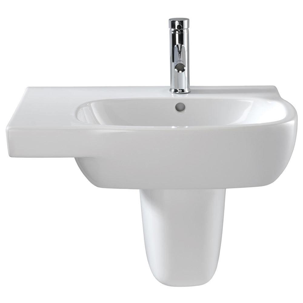 Twyford Moda Offset 650mm 1TH Washbasin & Semi Pedestal (Left Hand Shelf)