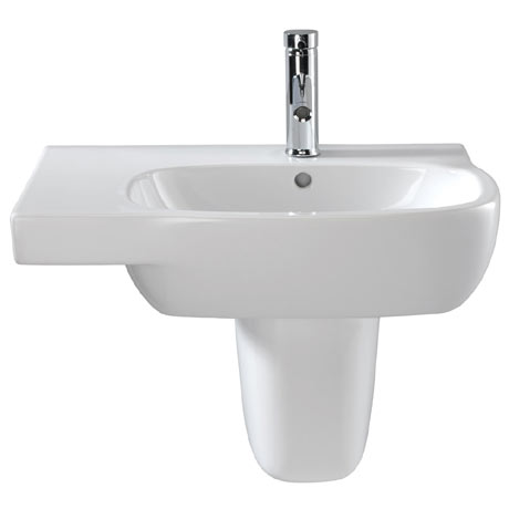 Twyford Moda Offset 650mm 1TH Washbasin & Semi Pedestal (Left Hand Shelf)