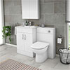 Turin 1100mm Gloss White Vanity Unit Bathroom Suite - Depth 400/200mm profile small image view 1