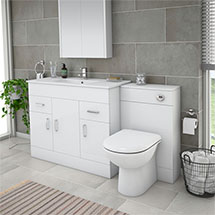 Turin High Gloss White Vanity Unit Bathroom Suite W1500 x D400/200mm Medium Image