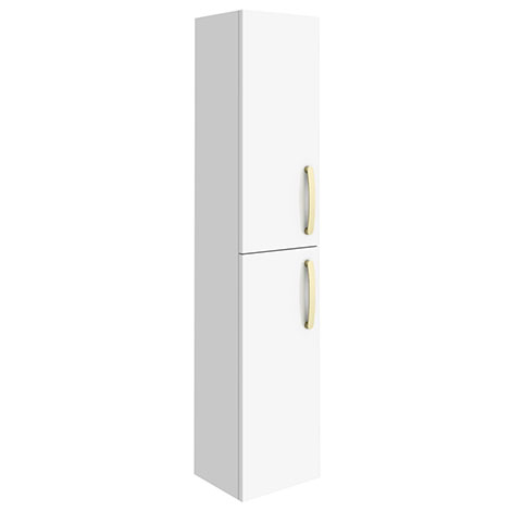 Brooklyn Gloss White Wall Hung Tall Storage Cabinet with Brushed Brass Handles