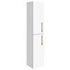Brooklyn Gloss White Wall Hung Tall Storage Cabinet with Brushed Brass Handles profile small image view 1