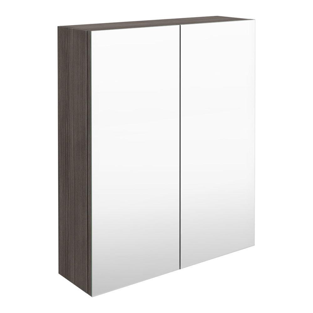 Brooklyn 600mm Grey Avola Bathroom Mirror Cabinet - 2 Door