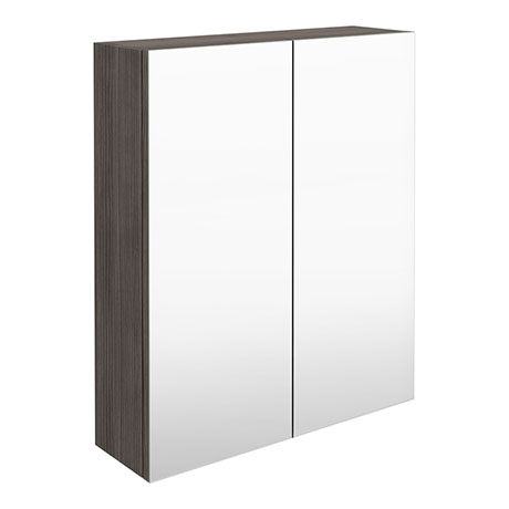 Brooklyn 600mm Grey Avola Bathroom Mirror Cabinet - 2 Door