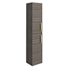 Brooklyn Grey Avola Wall Hung Tall Storage Cabinet with Brushed Brass Handles profile small image view 1