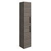 Brooklyn Grey Avola Wall Hung Tall Storage Cabinet with Matt Black Handles profile small image view 1