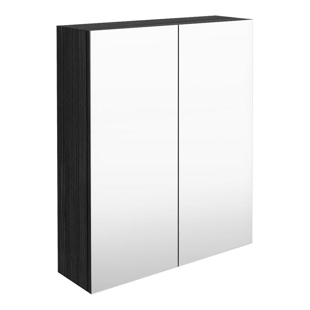 Brooklyn 600mm Black Bathroom Mirror Cabinet - 2 Door
