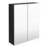 Brooklyn 600mm Black Bathroom Mirror Cabinet - 2 Door profile small image view 1