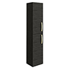 Brooklyn Black Wall Hung Tall Storage Cabinet with Brushed Brass Handles profile small image view 1