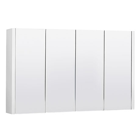 Turin White Minimalist 4 Door Mirror Cabinet - W1200 x D110mm