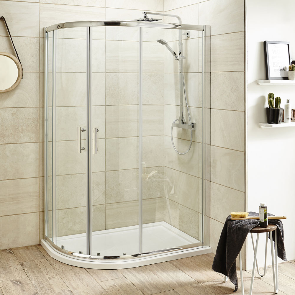 Turin 8mm Offset Quadrant Shower Enclosure - Close up image of a stunning quadrant shower enclosure in a modern bathroom