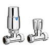 Modern Chrome Thermostatic Radiator Valves - Straight profile small image view 1