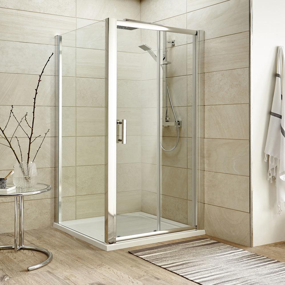 Turin 8mm 1000x1000mm Square Sliding Door Large Shower Enclosure - Easy Fit