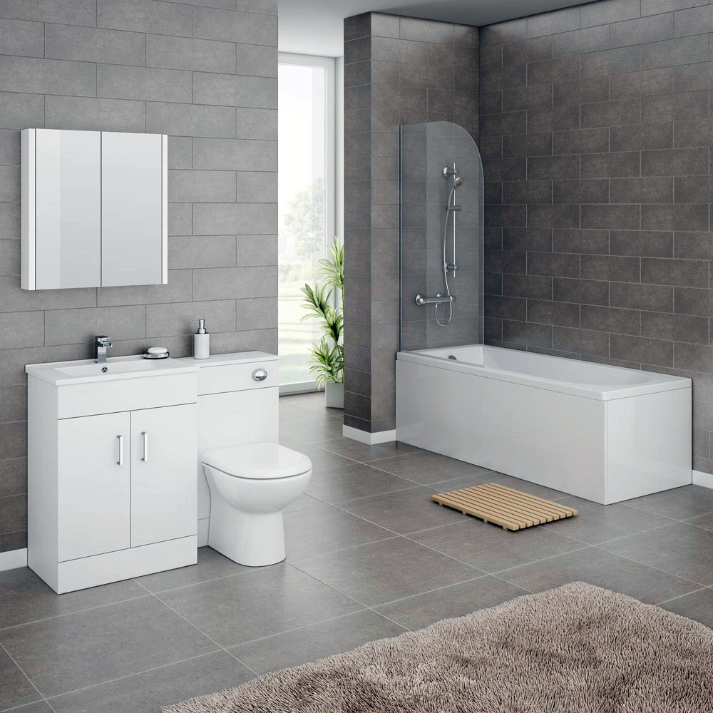 Turin Gloss White Vanity Unit Suite + Single Ended Bath (3 Bath Size Options)