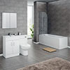 Turin Gloss White Vanity Unit Suite + Single Ended Bath (3 Bath Size Options) profile small image view 1
