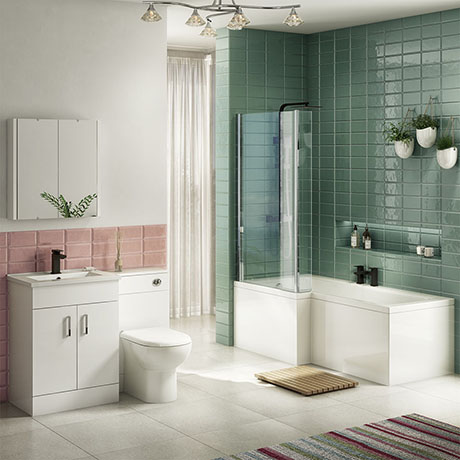 Turin Vanity Unit Bathroom Suite (inc. Square Shower Bath + Screen)