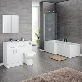 Turin Vanity Unit Bathroom Suite (Inc. Square Shower Bath + Screen) Medium Image