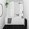 Montreal Round Single Ended Bath with Curtain Rail Bath Screen profile small image view 1