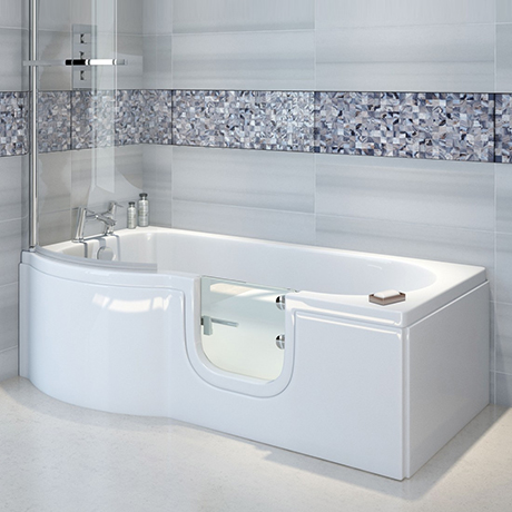 Milton Luxury Walk In 1675mm P Shaped Bath inc. Screen, Front + End Panel