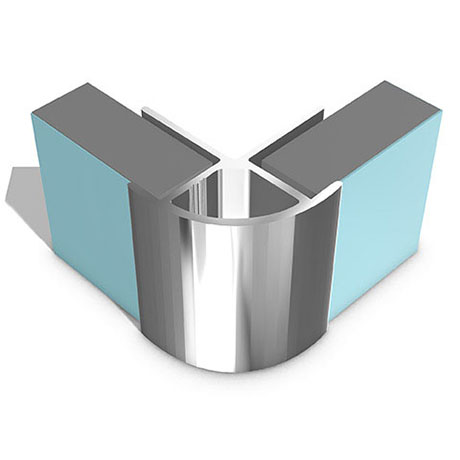 Multipanel External Corner Profile (Type B) - Polished Silver