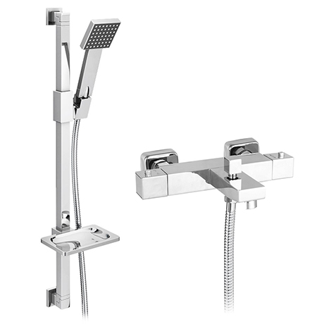 Milan Square Wall Mounted Thermostatic Bath Shower Mixer Tap + Shower Rail Kit