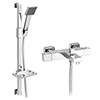 Milan Square Wall Mounted Thermostatic Bath Shower Mixer Tap + Shower Rail Kit profile small image view 1