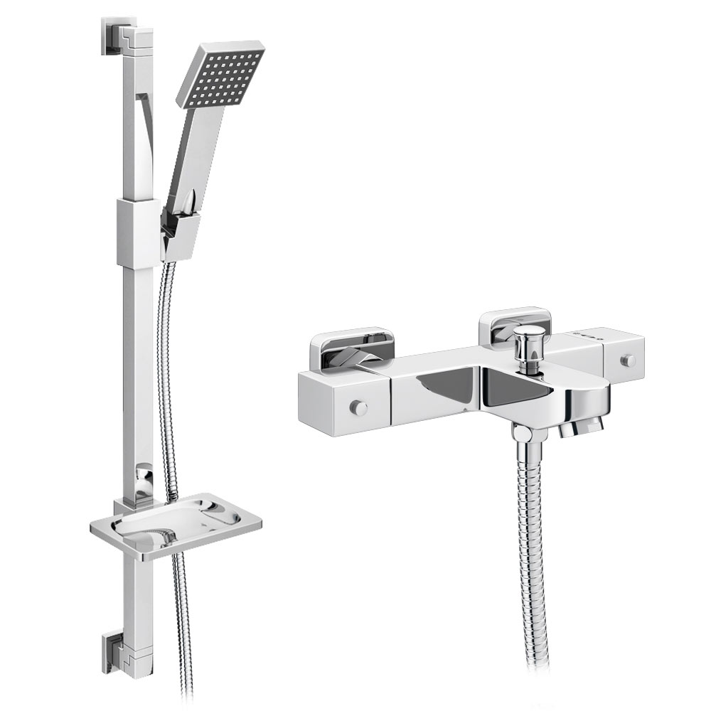 thermostatic taps thermostatic bath shower mixer victorian milan square wall mounted thermostatic bath shower mixer tap shower rail kit medium image