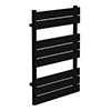 Milan Matt Black 800 x 490 Heated Towel Rail profile small image view 1