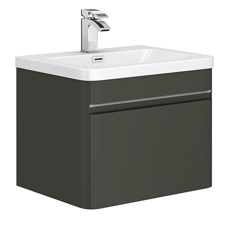 Moselle 600mm Gloss Grey Wall Hung 1 Drawer Vanity Unit Inc. Drawer Light