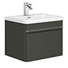 Moselle 600mm Gloss Grey Wall Hung 1 Drawer Vanity Unit Inc. Drawer Light profile small image view 1