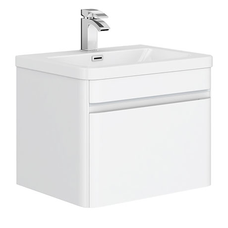 Moselle 600mm Gloss White Wall Hung 1 Drawer Vanity Unit Inc. Drawer Light