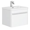 Moselle 600mm Gloss White Wall Hung 1 Drawer Vanity Unit Inc. Drawer Light profile small image view 1