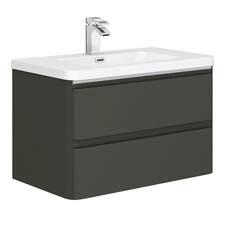 Moselle 800mm Gloss Grey Wall Hung 2 Drawer Vanity Unit Inc. Top Drawer Light