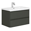 Moselle 800mm Gloss Grey Wall Hung 2 Drawer Vanity Unit Inc. Top Drawer Light profile small image view 1