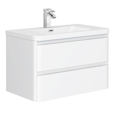 Moselle 800mm Gloss White Wall Hung 2 Drawer Vanity Unit Inc. Top Drawer Light