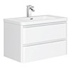 Moselle 800mm Gloss White Wall Hung 2 Drawer Vanity Unit Inc. Top Drawer Light profile small image view 1