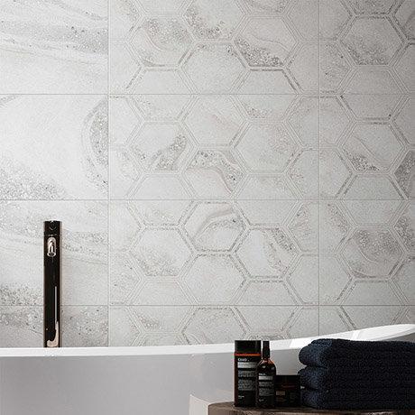 Monsanto Grey Hexagon Stone Effect Wall Tiles - 300 x 600mm