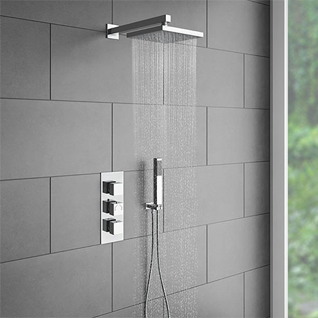 Milan Triple Thermostatic Valve with Square Shower Head and Handset ...