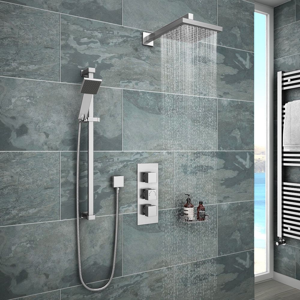 Milan Concealed Shower Valve With Slide Rail Kit Amp Wall Mounted Fixed Head At Victorian Plumbing Uk
