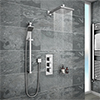 Milan Concealed Shower Valve with Slide Rail Kit + Wall Mounted Fixed Head profile small image view 1