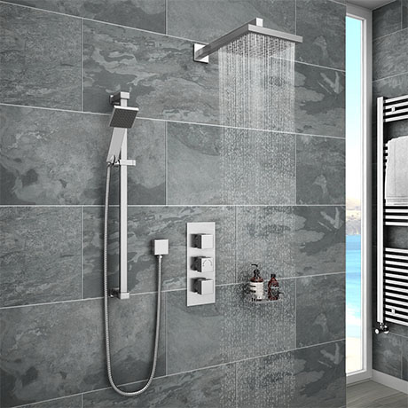 Milan Concealed Shower Valve with Slide Rail Kit + Wall Mounted Fixed Head